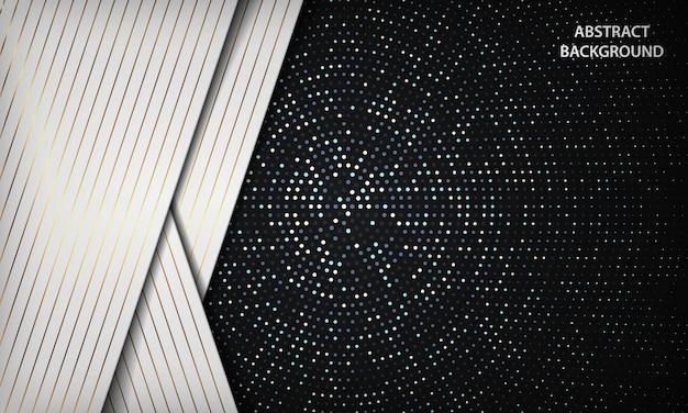 Abstrakter luxusschwarzweiss-überlappungshintergrund mit silbernem kreis funkelt punktdekoration. textur mit goldenen streifen element.
