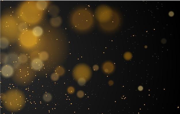 Abstrakter magischer bokehlichteffekthintergrund, schwarzer, goldener glitzer