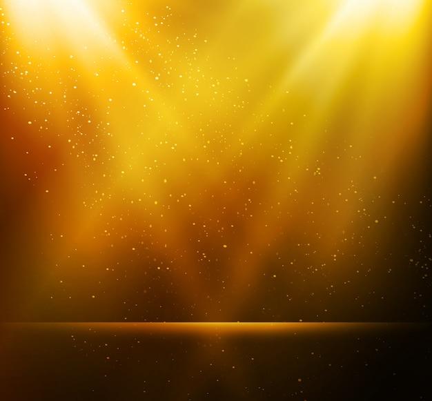 Abstrakter magischer goldlichthintergrund
