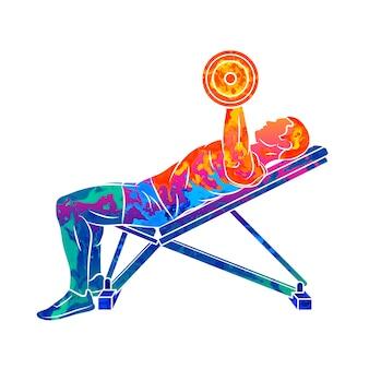 Abstrakter mann, der brust mit hanteln auf bankdrücken vom spritzen von aquarellen trainiert. bodybuilding. illustration von farben