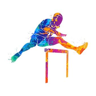 Abstrakter mann, der über hürden vom spritzen von aquarellen springt. illustration von farben.