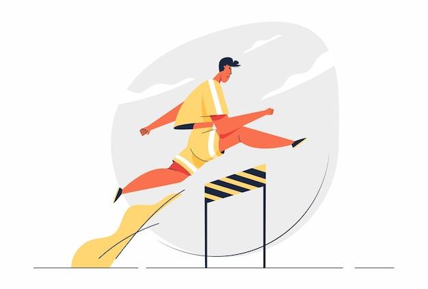 Abstrakter mann in aktion, der in der spieleillustration über hürden springt