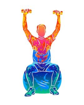 Abstrakter mann trainiert auf einem ball mit hanteln vom spritzen von aquarellen. rehabilitation. fitnesskurse. illustration von farben