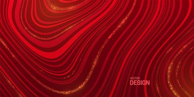 Abstrakter marmorierter roter hintergrund mit gestreifter textur und goldenem glitzer