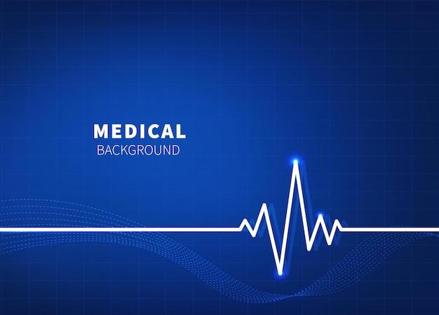 Abstrakter medizinischer hintergrund. blaues elektrokardiogramm.