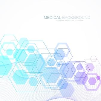 Abstrakter medizinischer hintergrund dna-forschung, molekül, genetik, genom, dna-kette. kunstkonzept der genetischen analyse mit sechsecken, linien, punkten. biotechnologie-netzwerk-konzept-molekül, vektor-illustration.