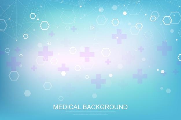 Abstrakter medizinischer hintergrund dna-forschung, molekül, genetik, genom, dna-kette. kunstkonzept der genetischen analyse mit sechsecken, linien, punkten. biotechnologie-netzwerkkonzeptmolekül, vektorillustration.