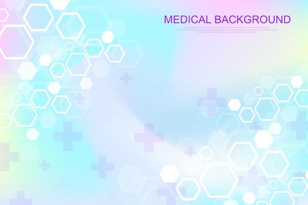Abstrakter medizinischer hintergrund dna-forschung, molekül, genetik, genom, dna-kette. kunstkonzept der genetischen analyse mit sechsecken, linien, punkten. biotechnologie-netzwerkkonzeptmolekül, vektorillustration