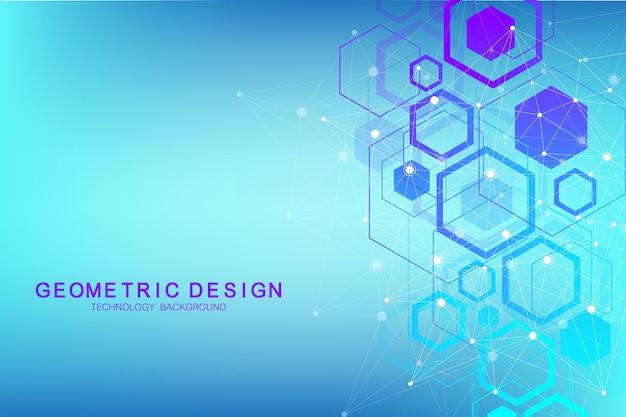 Abstrakter medizinischer hintergrund. dna-forschung. sechseckiges strukturmolekül und kommunikationshintergrund für medizin, wissenschaft, technologie. vektor-illustration.
