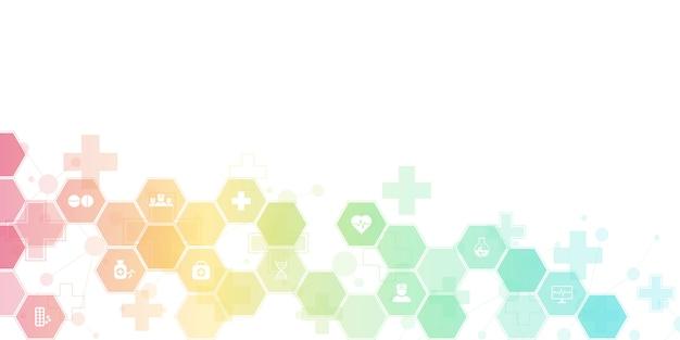 Abstrakter medizinischer hintergrund mit flachen symbolen und symbolen. konzepte und ideen für gesundheitstechnologie, innovationsmedizin, gesundheit, wissenschaft und forschung.