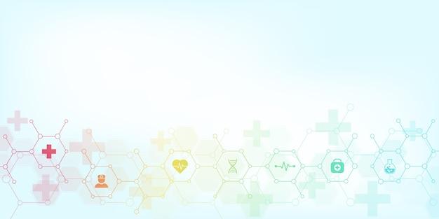 Abstrakter medizinischer hintergrund mit ikonen und symbolen. vorlage mit konzept und idee für gesundheitstechnologie, innovationsmedizin, gesundheit, wissenschaft und forschung.