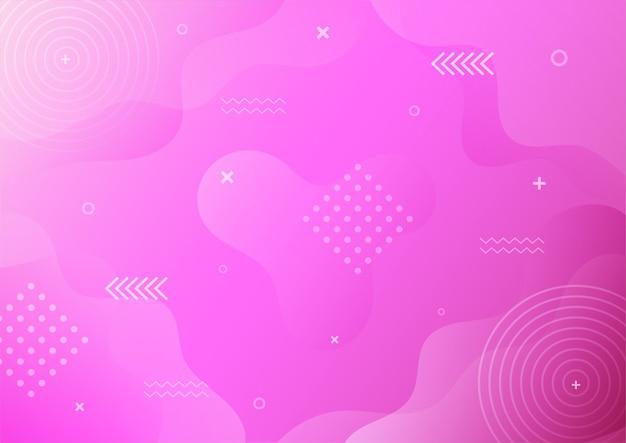 Abstrakter memphis-stil des modernen farbverlaufs lila mit geometrischem hintergrund.