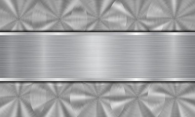 Abstrakter metallhintergrund in silbernen farben, bestehend aus einer metallischen oberfläche mit kreisförmiger gebürsteter textur und polierter metallplatte mit glänzenden kanten