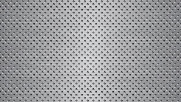 Abstrakter metallhintergrund mit löchern in grauen farben