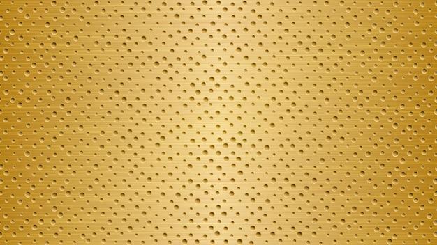 Abstrakter metallhintergrund mit löchern in hellen goldenen farben