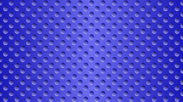 Abstrakter metallhintergrund mit löchern in leuchtend blauen farben