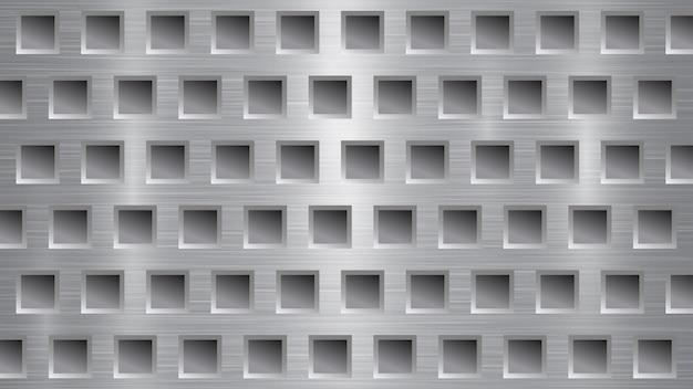 Abstrakter metallhintergrund mit quadratischen löchern in den grauen farben