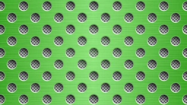 Abstrakter metallhintergrund mit runden löchern in grünen und grauen farben
