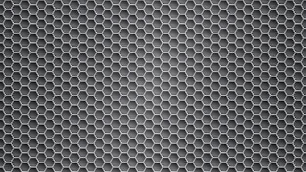 Abstrakter metallhintergrund mit sechseckigen löchern in grauen farben