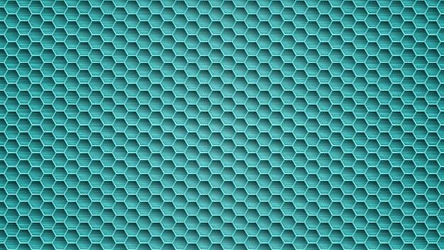 Abstrakter metallhintergrund mit sechseckigen löchern in hellblauen farben