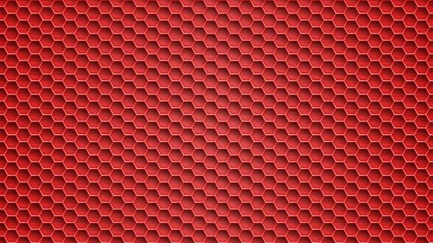 Abstrakter metallhintergrund mit sechseckigen löchern in roten farben