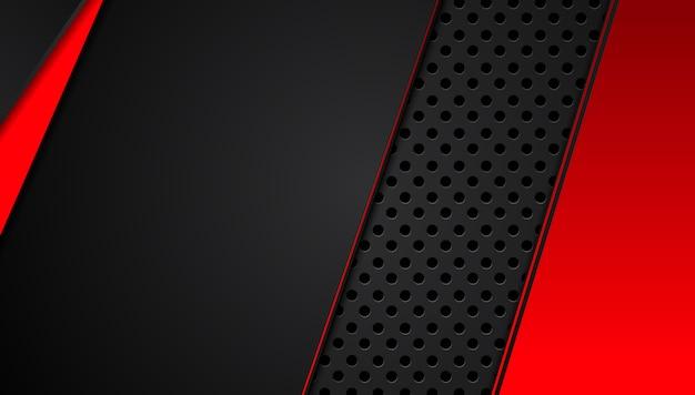 Abstrakter metallischer roter schwarzer hintergrund mit kontraststreifen. abstrakte grafische broschürenauslegung