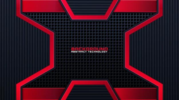 Abstrakter metallischer roter schwarzer hintergrund mit kontraststreifen. abstrakte vektorgrafik-broschüre design.frame-tech-innovationskonzept.