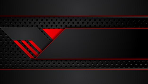 Abstrakter metallischer roter schwarzer hintergrund mit kontraststreifen. abstraktes vektorgraphik-technologieinnovationskonzept