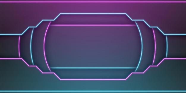 Abstrakter metallischer schwarzer rahmenhintergrundkreisrunde überlappung mit rechteck nach innen mit neonlichtlinie