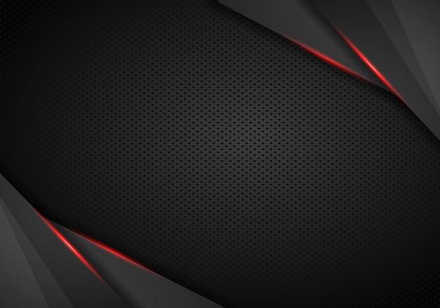 Abstrakter metallischer schwarzer roter rahmensportdesignkonzept-innovationshintergrund.