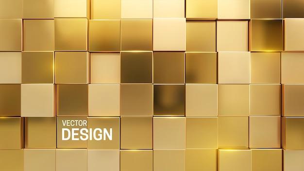 Abstrakter minimaler 3d-hintergrund mit zufälligen metallischen goldenen quadratischen formen
