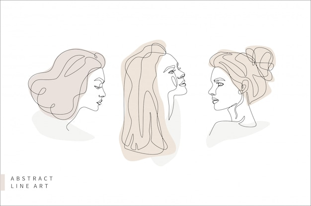 Abstrakter minimaler gesichtslinienkunstsatz. frauenkopf im profil. hand gezeichnete mode-logo-designillustration.