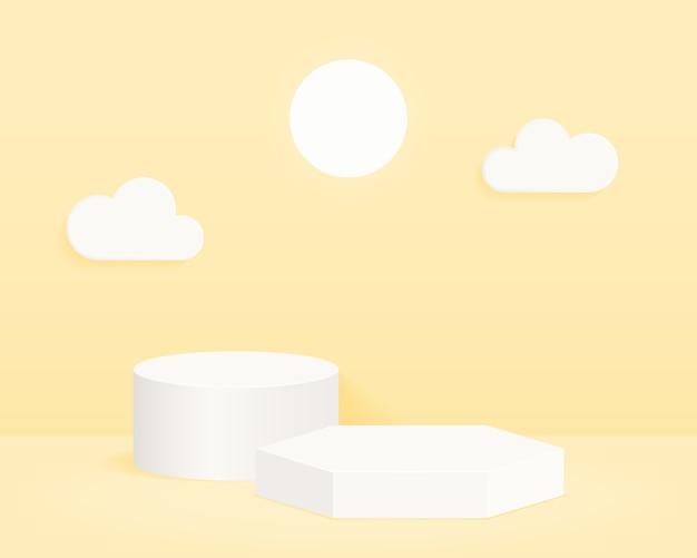 Abstrakter minimaler szenenhintergrund mit geometrischen formen. design für die produktpräsentation.