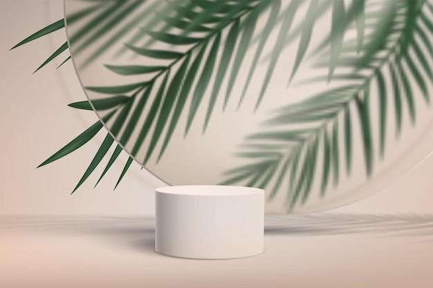 Abstrakter minimalistischer hintergrund mit sockel für produktvitrine mit palmblättern hinter glas