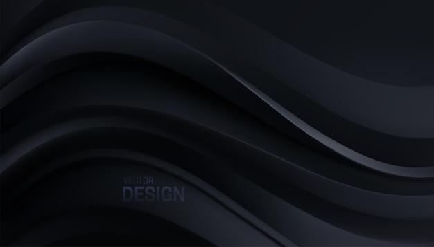 Abstrakter minimalistischer schwarzer hintergrund mit weichen kurvigen formen