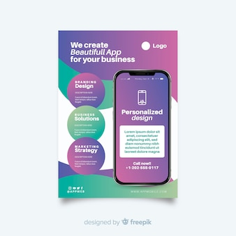 Abstrakter mobiler app-flyer