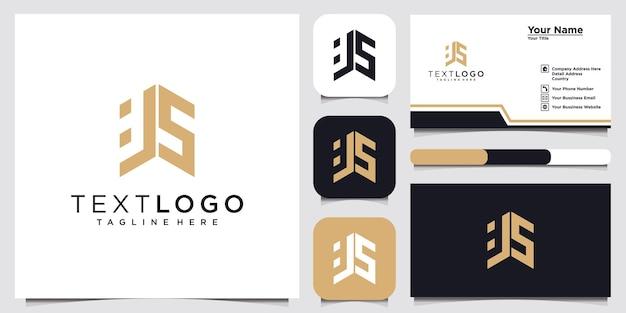 Abstrakter moderner anfangsbuchstabe js zj zeichen luxus-logo-design-vorlage und visitenkarte