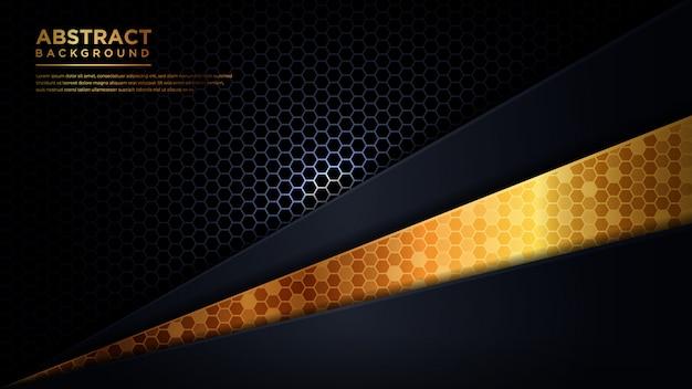 Abstrakter moderner dunkelblauer und goldener futuristischer hintergrund. abstraktes dunkelgraues sechsecknetz in blauer dreiecksgoldlinie