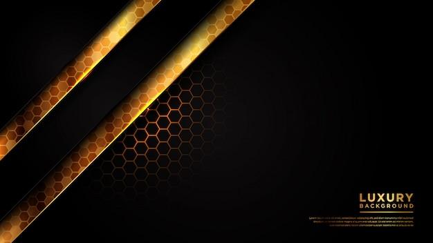 Abstrakter moderner dunkler und goldener luxushintergrund mit dunkelgrauem überlappungssechseck