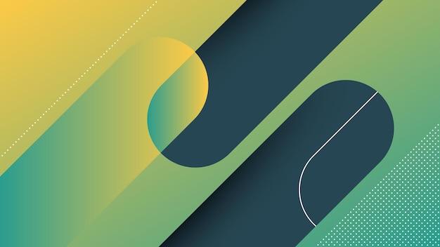 Abstrakter moderner hintergrund mit diagonalen linien und memphis-element und grüner vibrierender gradientenfarbe