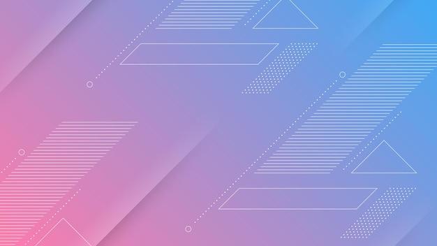 Abstrakter moderner hintergrund mit lebendigem blau-violettem farbverlauf und memphis-element