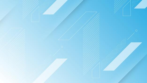 Abstrakter moderner hintergrund mit lebendigem blau-weißem farbverlauf und memphis-element