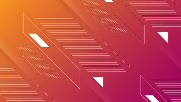 Abstrakter moderner hintergrund mit lebendigem lila-orange-farbverlauf und memphis-element