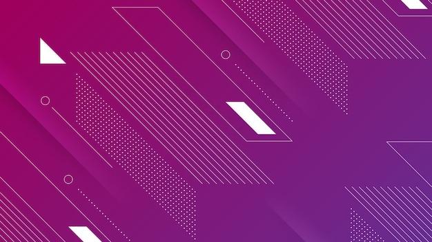 Abstrakter moderner hintergrund mit lebendigem lila rosa farbverlauf und memphis-element