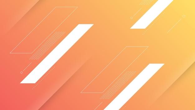 Abstrakter moderner hintergrund mit lebendigem orangefarbenem pfirsich-farbverlauf und memphis-element