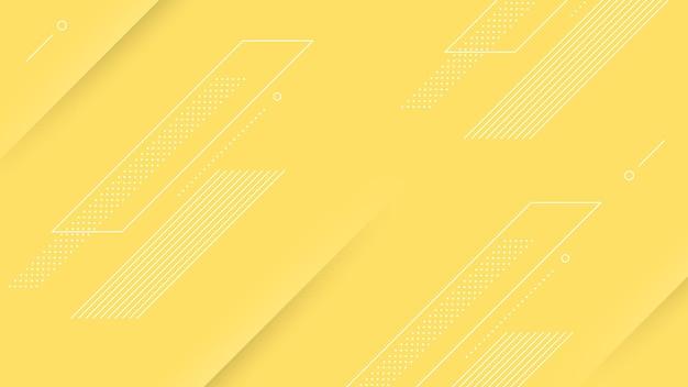 Abstrakter moderner hintergrund mit lebendiger gelber farbe und memphis-element