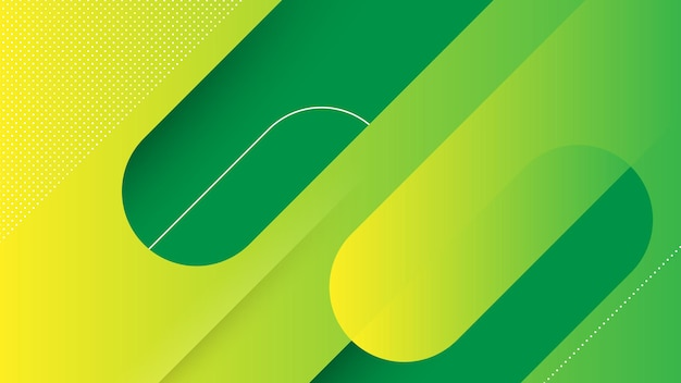 Abstrakter moderner hintergrund mit memphis diagonal lines element und grün-gelber vibrierender farbe