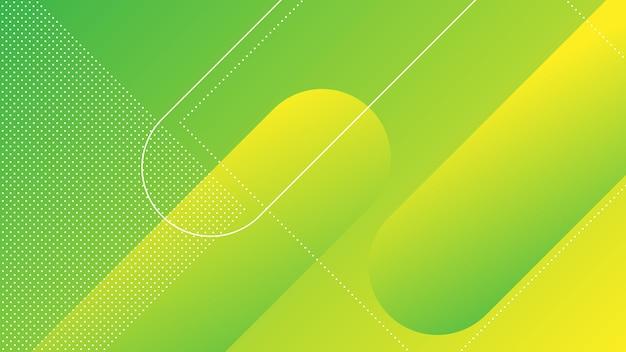 Abstrakter moderner hintergrund mit memphis-element und grünem gelbem farbverlauf