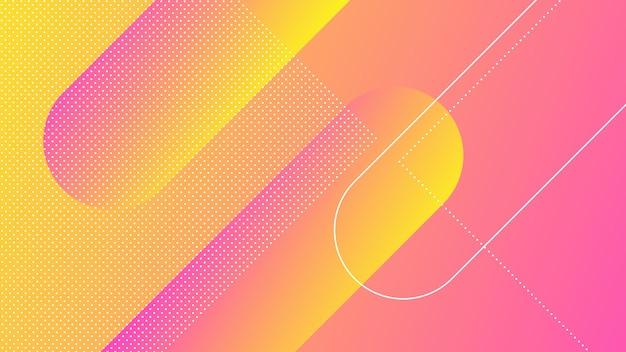 Abstrakter moderner hintergrund mit memphis-element und rosa gelbem farbverlauf