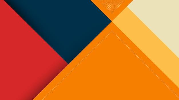 Abstrakter moderner hintergrund mit memphis papercut style und orange pastellfarbe